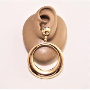 Button Hoop Pierced Stud Earrings Gold Tone